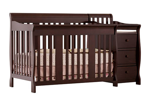 2. Stork Craft Portofino 4-in-1 Fixed Side Convertible Crib and Changer
