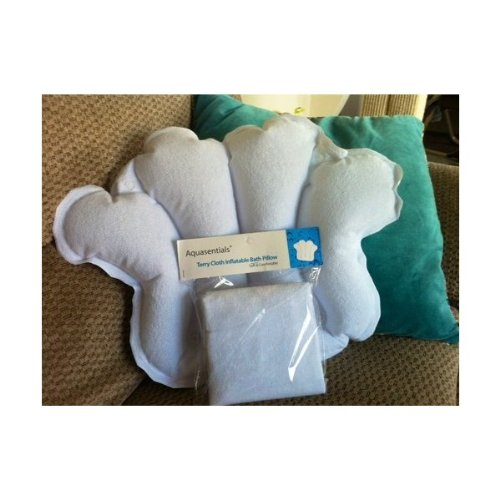 4. Aquasentials Inflatable Bath Pillow - Terry Cloth
