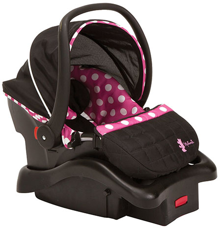 6. Disney Baby Minnie Mouse Light N Comfy Luxe Infant Car Seat, Minnie Dot