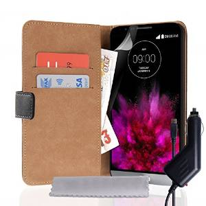 Caseflex LG G4 Case Black Genuine Leather Wallet Cover With Car Charger