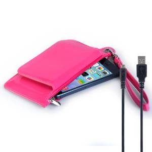 Caseflex LG G4 Case Hot Pink PU Leather Purse Cover With Micro USB Cable