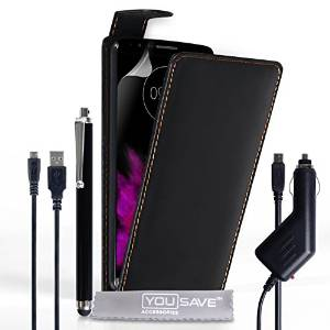 Yousave Accessories LG G4 Case Black PU Leather Flip Cover With Stylus Pen, Car Charger And Micro USB Cable