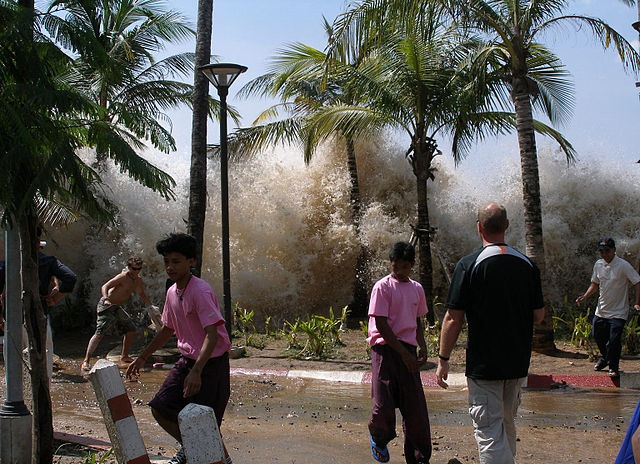 A photograph of the 2004 tsunami in Ao Nang, Krabi Province, Thailand.
