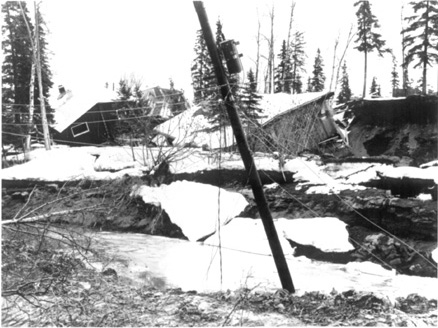 Landslide and slumping effects in the Turnagain Heights area, Anchorage, Alaska, caused by the March 28, 1964, earthquake.