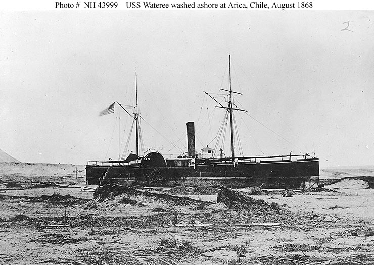 The USS Wateree beached at Arica, 430 yards (390 m) inland