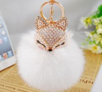 Real Fox Fur Ball with Artificial Fox Head Inlay Pearl Rhinestone Key Chain for Womens