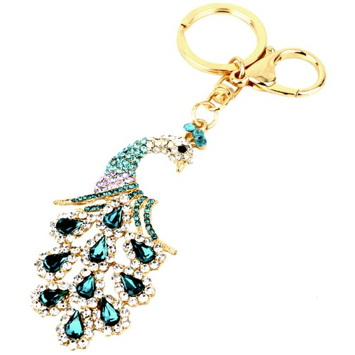 Peacock Bling Crystals Rhinestone Handbag Purse Charm Key Chain Keyring Holder