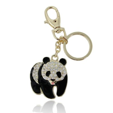 EVER FAITH Plump Panda Keychain Clear Austrian Crystal Gold