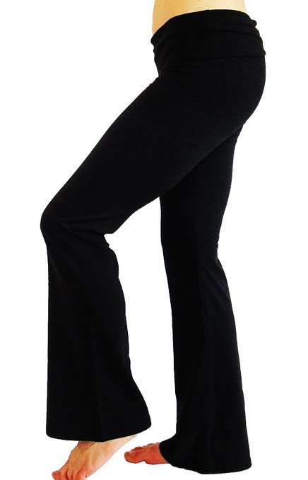 LA Base Women's Long Yoga pants with Fold Down Waist