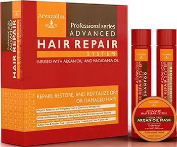 Advanced Hair Repair Shampoo and Conditioner Set with Argan Oil and Macadamia Oil By Arvazallia