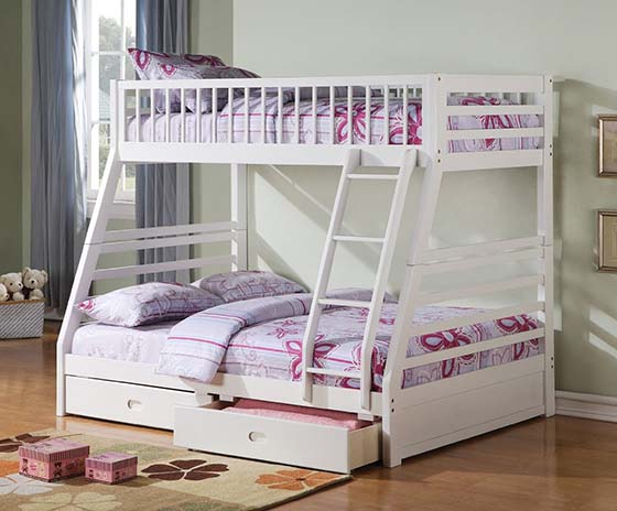 8. Jason White Twin/Full Bunk Bed with Drawers by Acme Furniture