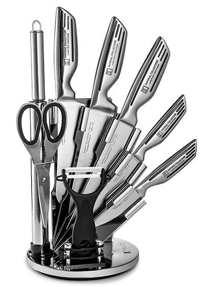10. Imperial Collection 9 Piece Stainless Steel Knife Set with Acrylic Stand