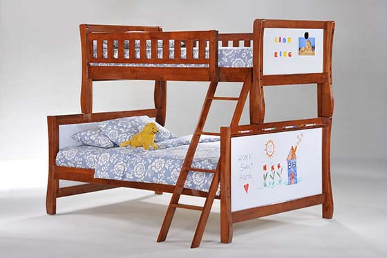 7. Scribble Twin/Full Bunk Bed in Cherry by Night And Day Furniture
