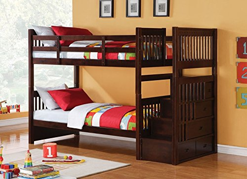 5. Alem Espresso Twin/Twin Bunk Bed with Drawers and Trundle by Acme Furniture