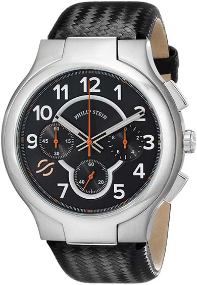 3. Philip Stein Men's 45-SCRBK-BB Round Analog Display Japanese Quartz Black Watch