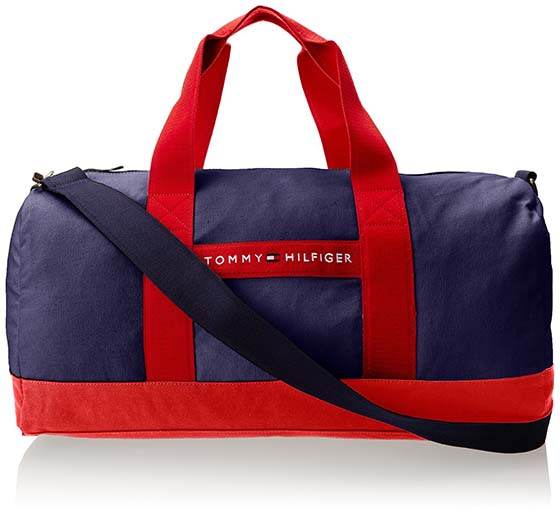 8. Tommy Hilfiger Stripe Canvas Medium Duffle Bag