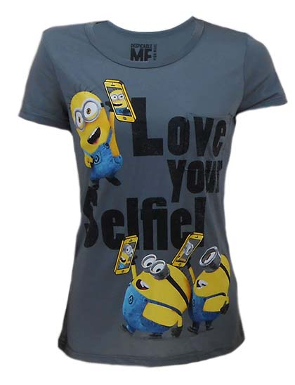 7. Despicable Me Minion Love Your Selfie Rayon Pocket Tee, Ladies