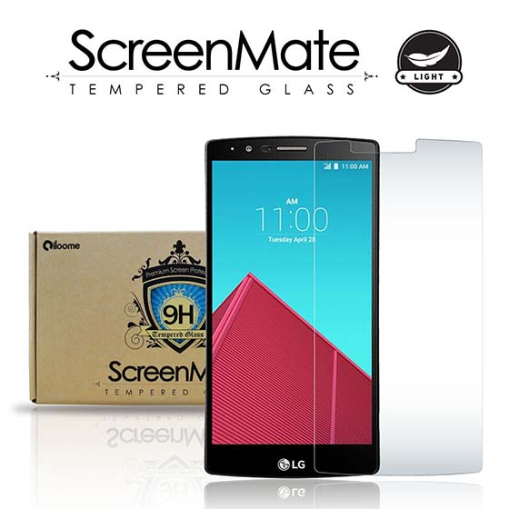 3. LG G4 Screen Protector iloome ScreenMate Light Tempered Glass 9H Hardness Premium Screen Protector