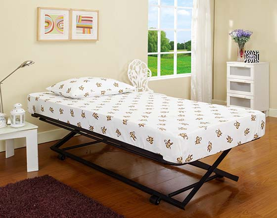 7. 39''/ Twin Size Black Metal Pop up Trundle for Daybeds, best trundle bed mattresses