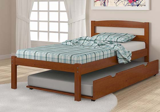 5. Solid Wood Espresso Twin Bed with Trundle, best trundle bed mattresses