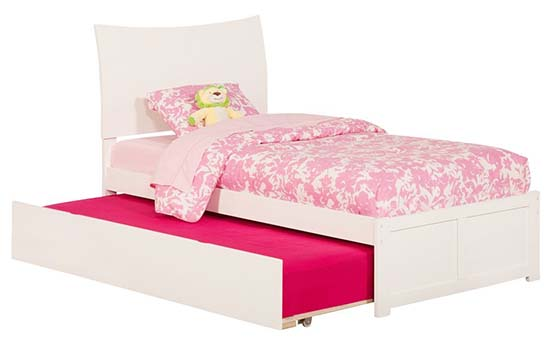 8. Atlantic Furniture Soho Twin Bed with Flat Panel Foot Board and Urban Trundle Bed, White Finish