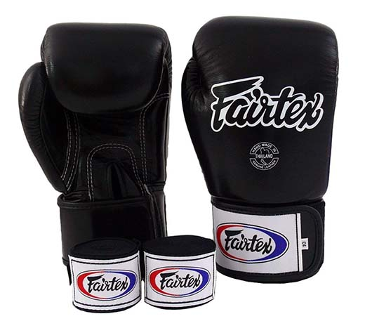 7. Fairtex Muay Thai Boxing Gloves BGV1 Black White Red Gloves & Handwraps