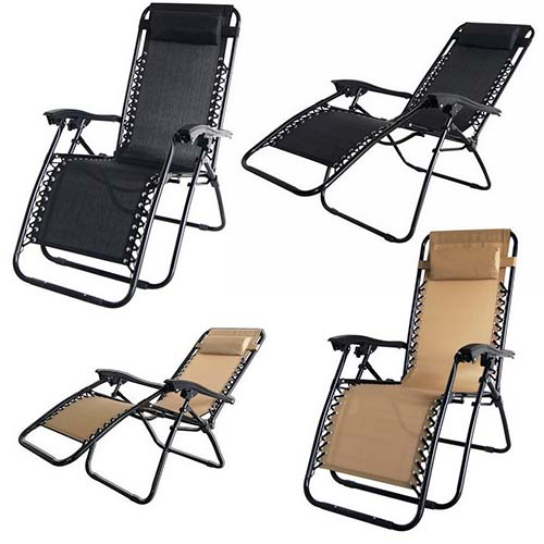 6. 2x Palm Springs Zero Gravity Chairs Lounge/Outdoor Yard Patio Chairs Beach Black