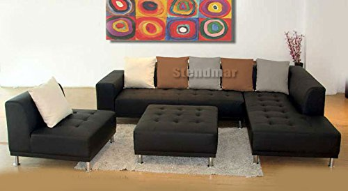 10. 4pc Modern Euro Design Black Leather Sectional