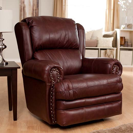 6. Buckingham Leather Rocker Recliner Chestnut