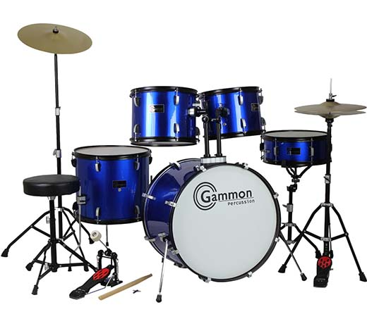 3. Drum Set Full Size Adult 5-piece Complete Metallic Blue with Cymbals Stands Stool Sticks