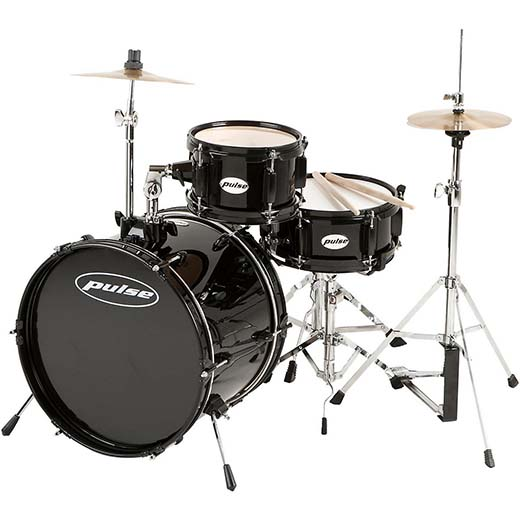 10. Pulse 3-Piece Deluxe Junior Drum Set Black