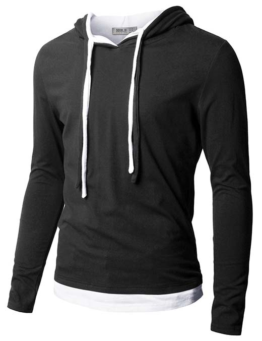 8. Doublju Mens Hood Pull-over with Contrast String