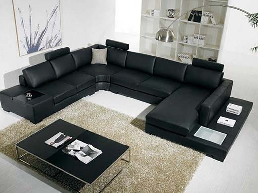 3. Black Bonded Leather Sectional Sofa with Headrests