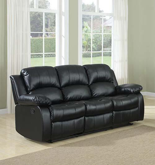 4. Homelegance Gives You Not 1 But 3 Double Reclining Sofa In Black Bonded Leather