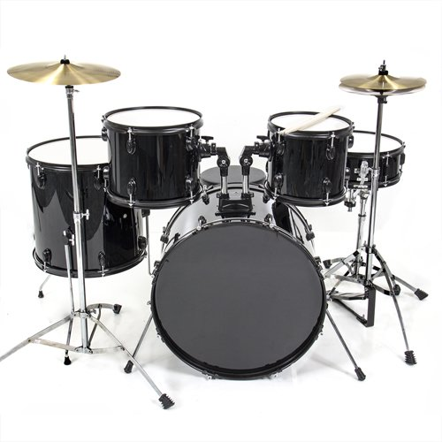 4. Drum Set 5 Pc Complete Adult Set Cymbals Full Size Black New Drum Set