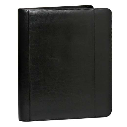6. Deluxe Zippered Black 3-ring Portfolio