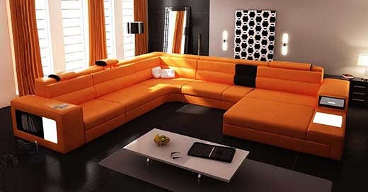 2. 4pc Modern Euro Design Black Leather Sectional