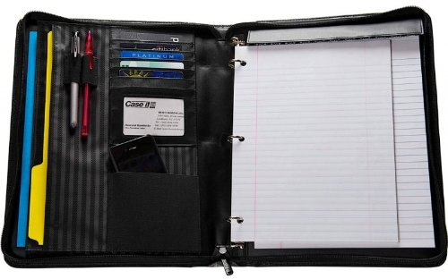 4. Case-it Executive Zippered Padfolio with Removable 3-Ring Binder and Letter Size Writing Pad, Black, PAD-50
