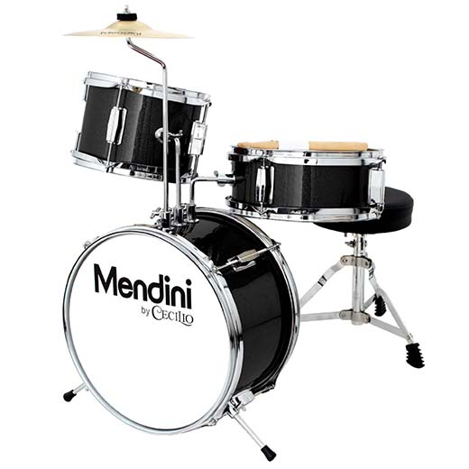 7. Mendini by Cecilio MJDS-1-BK 3 Piece Drum Set, Metallic Black