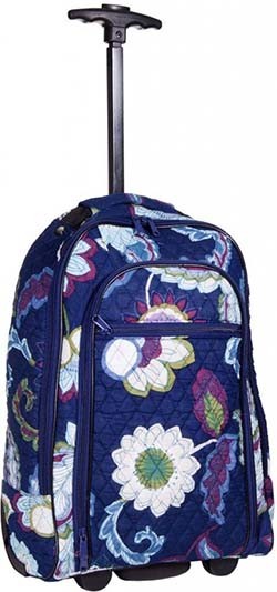 10. Attractive Blue Floral-designed Quilted Rolling Backpack with Retractable Push-button Handle