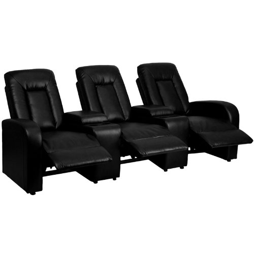 7. Flash Furniture 3 Seat Black Leather Home Theatre Recliner with Storage Consoles
