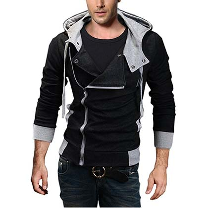 9. DJT Men's Oblique Zipper Hoodie Casual Top Coat Slim Fit Jacket