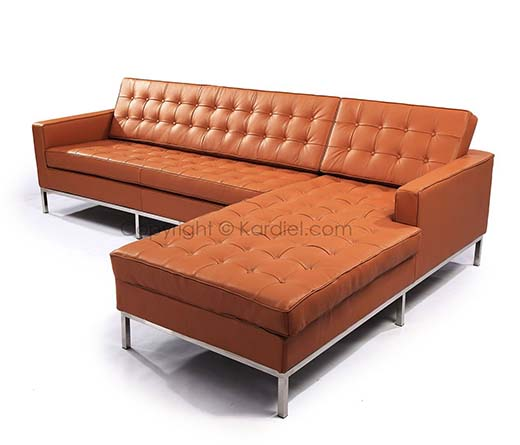 6. Kardiel Florence Gives You A Knoll Style Sofa Sectional In Luxe Camel Genuine Leather