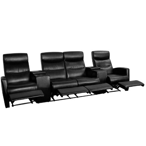 5. Flash Furniture 4-Seat Black Leather Home Theatre Recliner with Storage Console