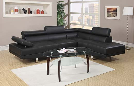 5. Poundex Bobkona Atlantic Presents a Faux Leather 2-Piece Sectional Sofa with a Functional Armrest and Back Support In Black
