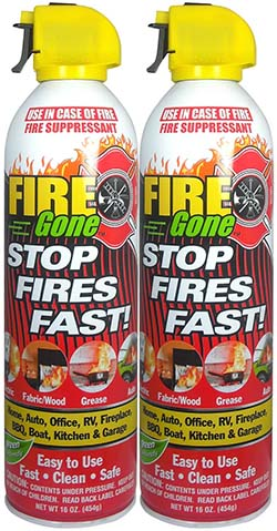 4. Fire Gone 2NBFG2704 White/Red Fire Extinguisher - 16 oz., (Pack of 2)