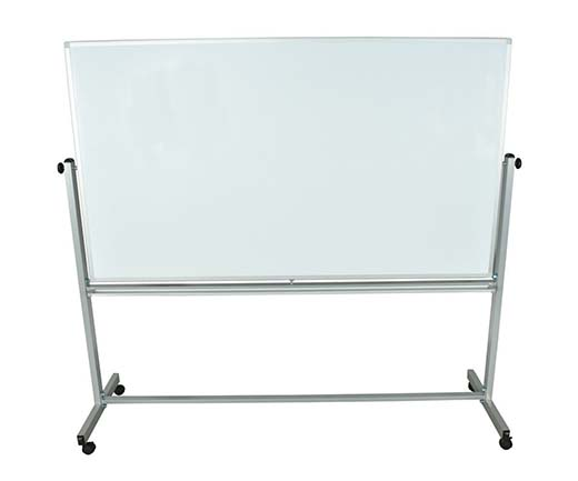 10. Offex Mobile 72x40(WxH Inches) Double Sided Dry-Erase Magnetic Whiteboard Easel With Silver Frame, 4 Casters