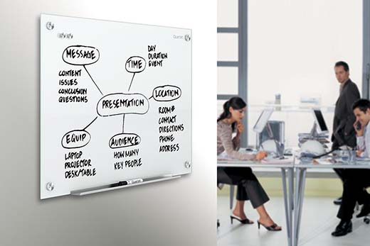 5. Quartet Infinity Glass Magnetic Marker Board, 4 x 3 Feet, White Surface, Frameless (G4836W)