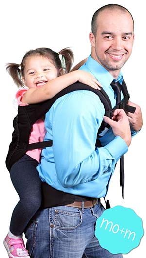 5. Mo+m Classic Cotton Baby Carrier (Black) - Soft Structured, Ergonomic Sling w/ Mesh Cooling Vent, Hood & Pockets