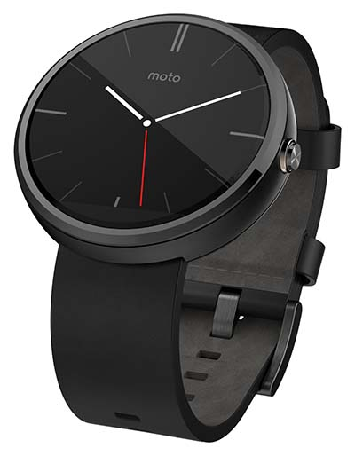 7. Motorola Moto 360 - Black Leather Smart Watch